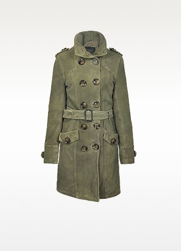 Long Green Suede Jacket w/Belt - Forzieri