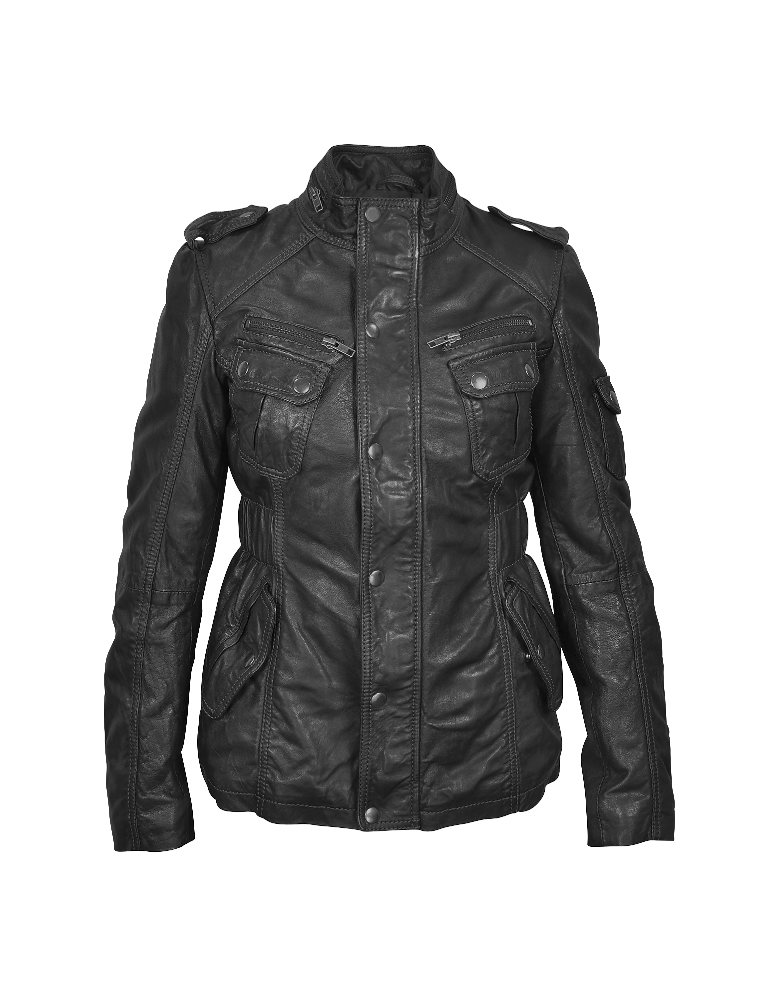 Forzieri Leather Jackets, Black Leather Jacket w/ Quilted Lining
