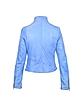 Light Blue Asymmetrical Zip Washed Leather Jacket - Forzieri