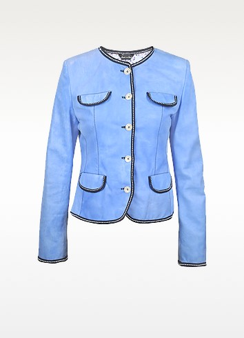 Leather Washed Jacket with Contrasting Trim - Forzieri