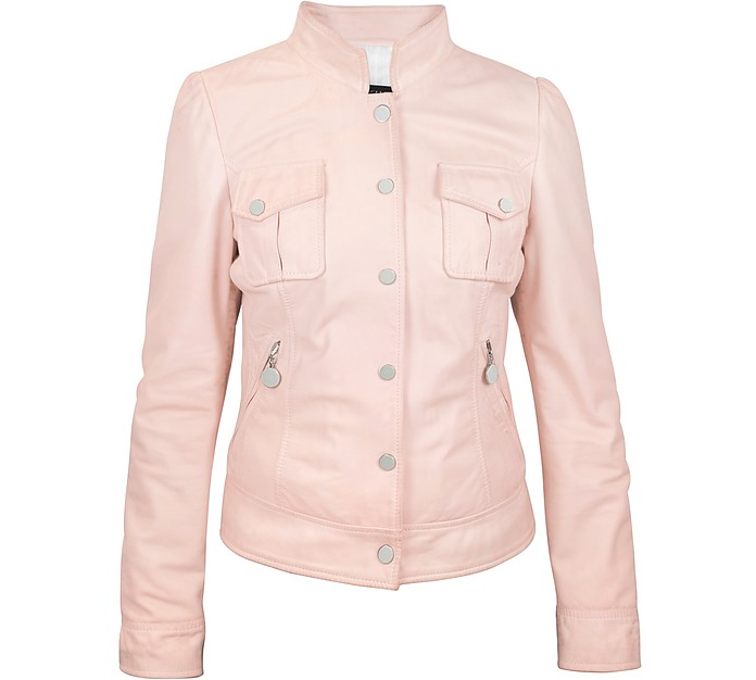 Pink Washed Leather Jacket with Mandarin Collar - Forzieri