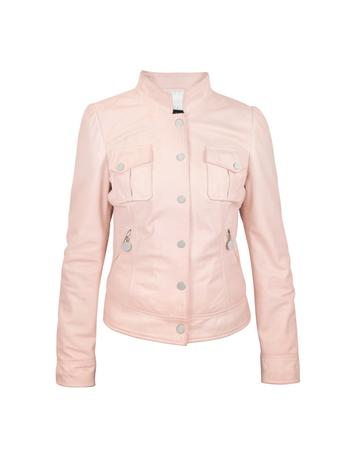 Lux-ID 317171 Pink Washed Leather Jacket with Mandarin Collar