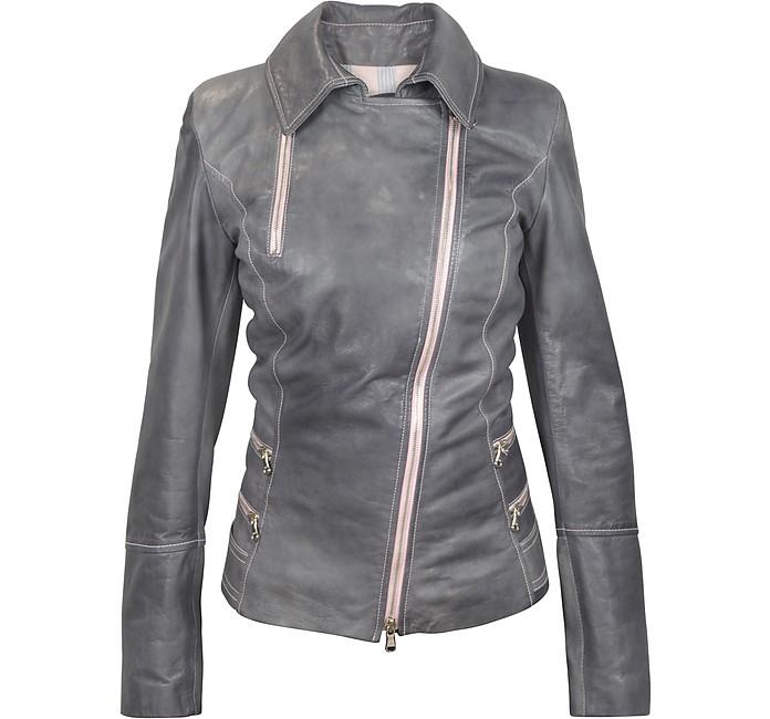 Grey Asymmetrical Zip Leather Jacket  - Forzieri