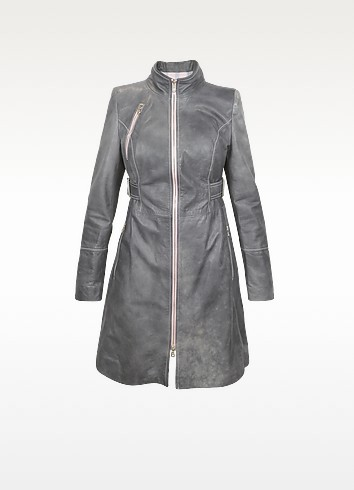 Zipped Leather Trench Coat - Forzieri