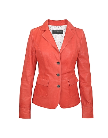 Forzieri - Three-Button Red Leather Jacket