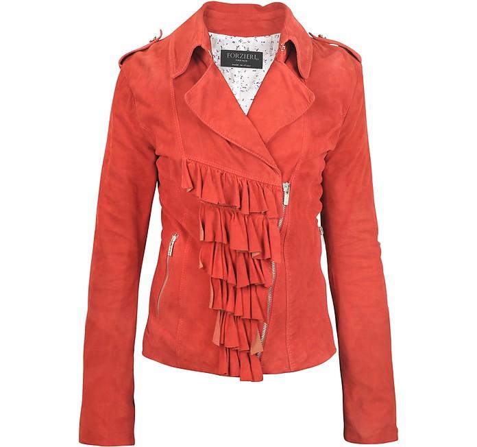 Ruffled Red Asymmetrical Zip Suede Jacket - Forzieri