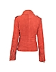 Ruffled Red Asymmetrical Zip Suede Jacket - Forzieri