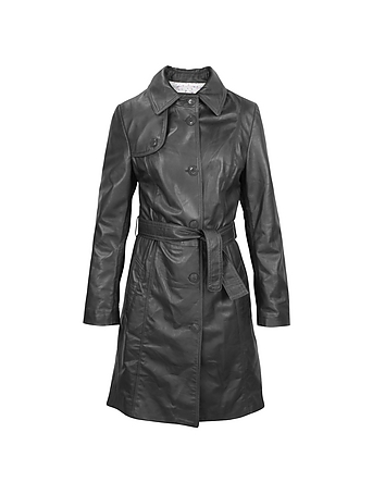 Soft Black Leather Belted Trench Coat