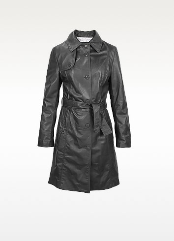 Soft Black Leather Belted Trench Coat - Forzieri