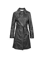 Lux-ID 208467 Soft Black Leather Belted Trench Coat