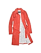 Red Leather Belted Trench Coat - Forzieri