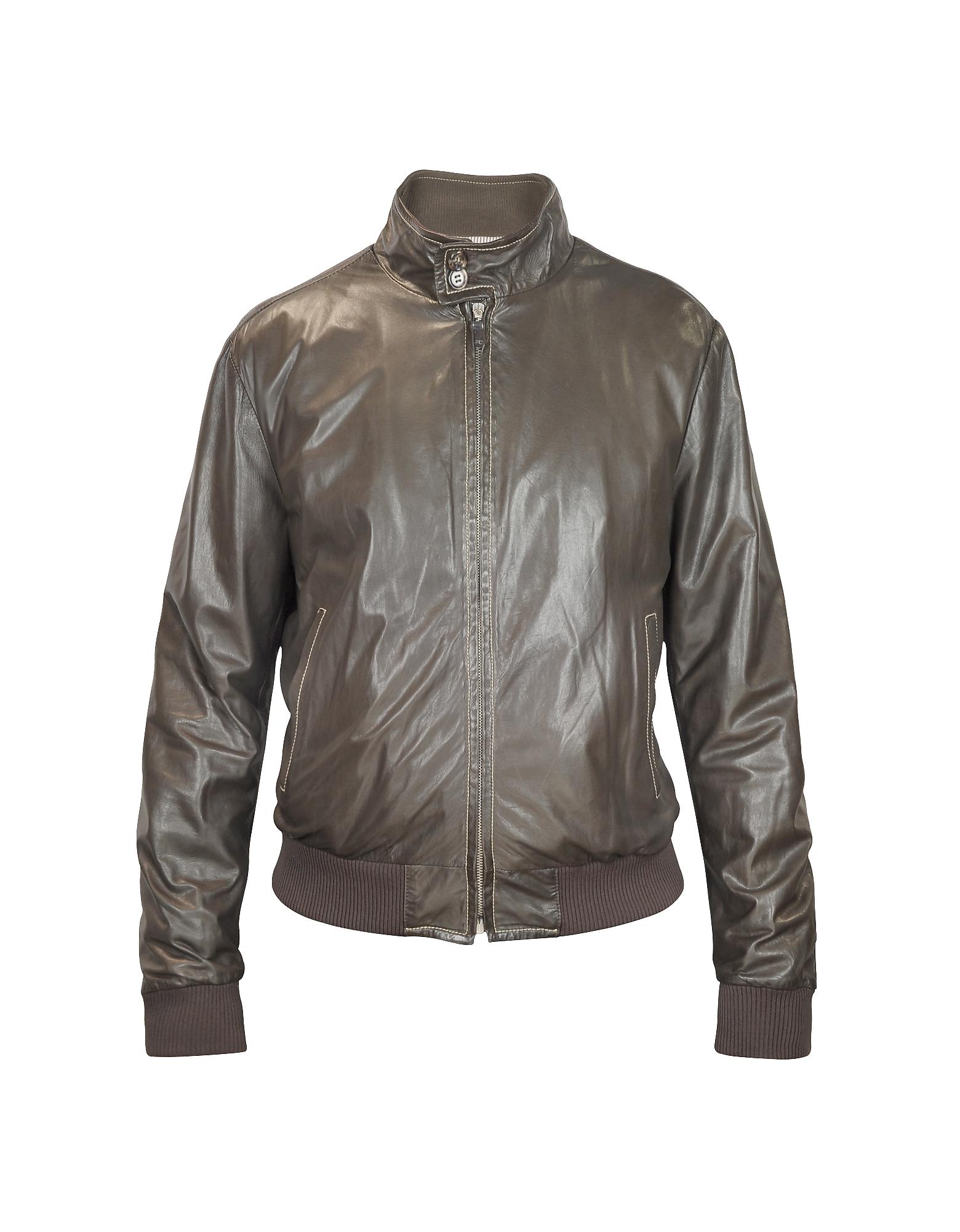 Мужская Темно-коричневая Кожаная Куртка Бомбер из Мягкой Кожи