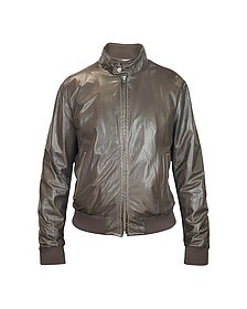 Men's Dark Brown Soft Leather Bomber Jacket - Forzieri