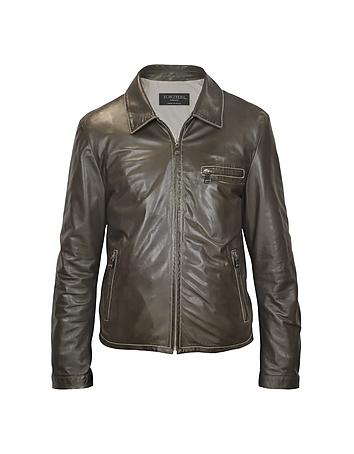 Men's Dark Brown Genuine Leather Motorcycle Jacket fz461111-014-00