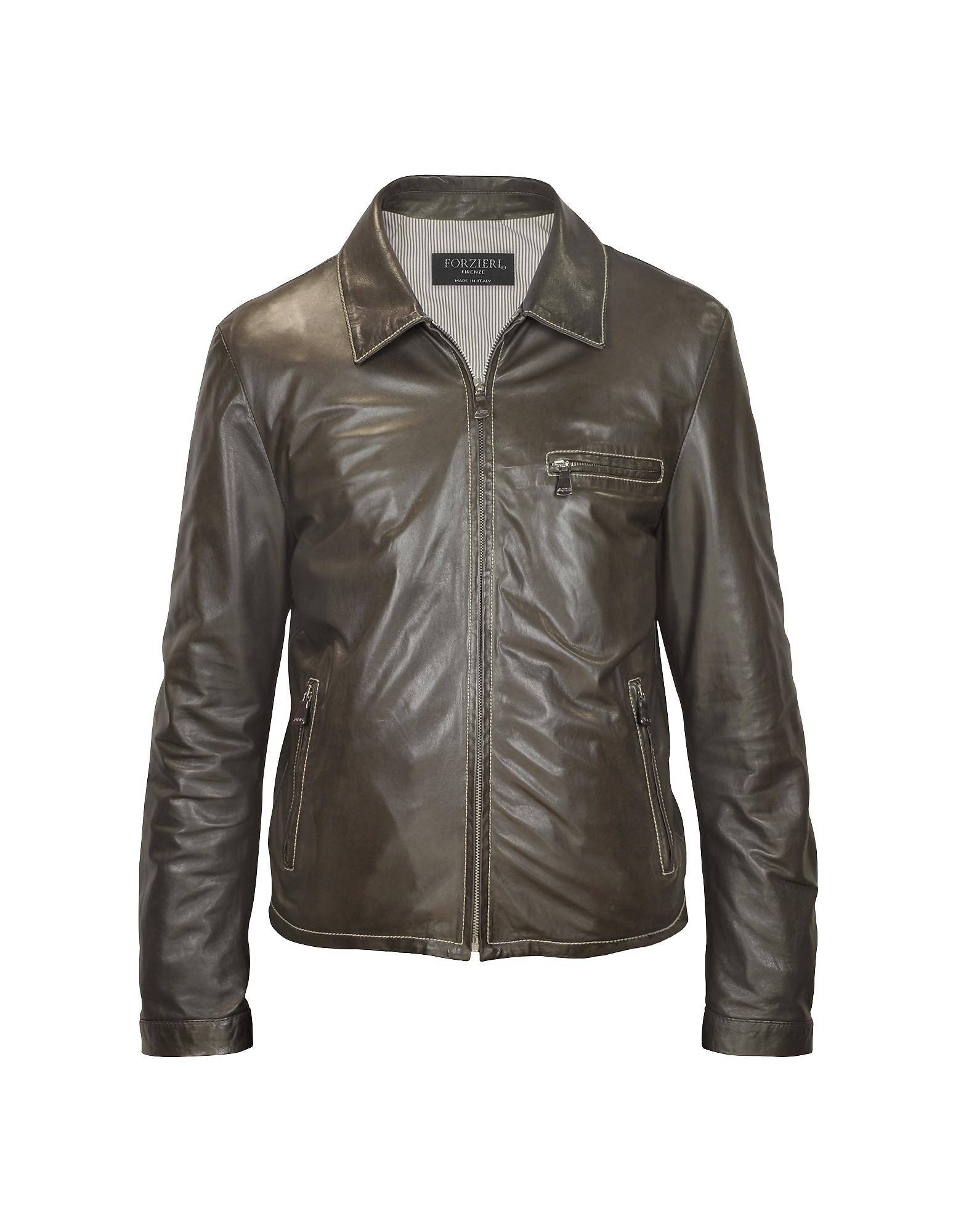 Темно-коричневая Мужская Куртка в Мото Стиле из Натуральной Кожи