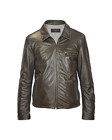 Men's Dark Brown Genuine Leather Motorcycle Jacket - Forzieri