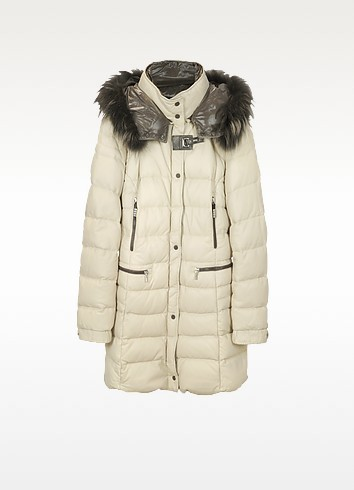Beige Quilted Leather Coat - Forzieri