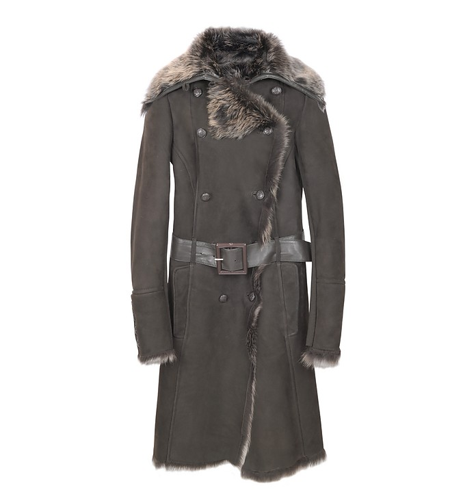 Brown Fur-Trim Shearling Coat - Forzieri