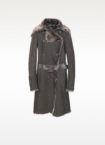 Brown Fur-Trim Shearling Coat - Forzieri