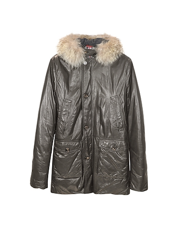 Men's Hooded Leather Car Coat
