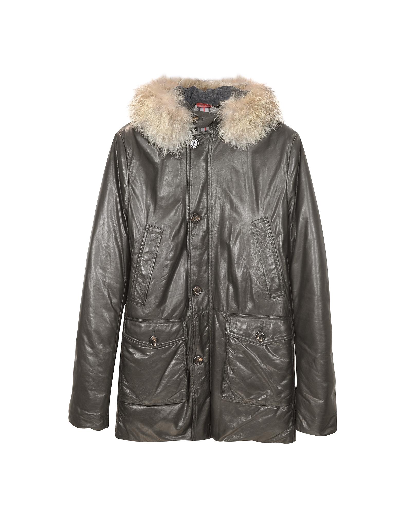 Мужское Кожаное Пальто с Капюшоном