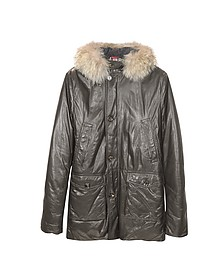 Men's Hooded Leather Car Coat - Forzieri