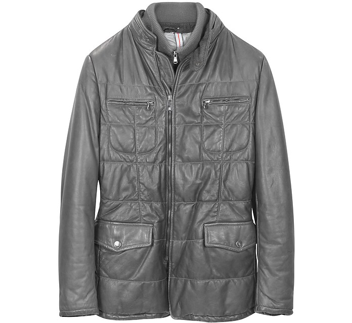 Dark Gray Zip Leather Jacket - Forzieri