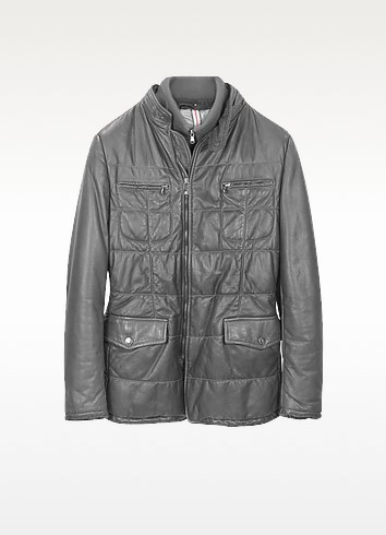 Dark Gray Zip Leather Jacket - Forzieri