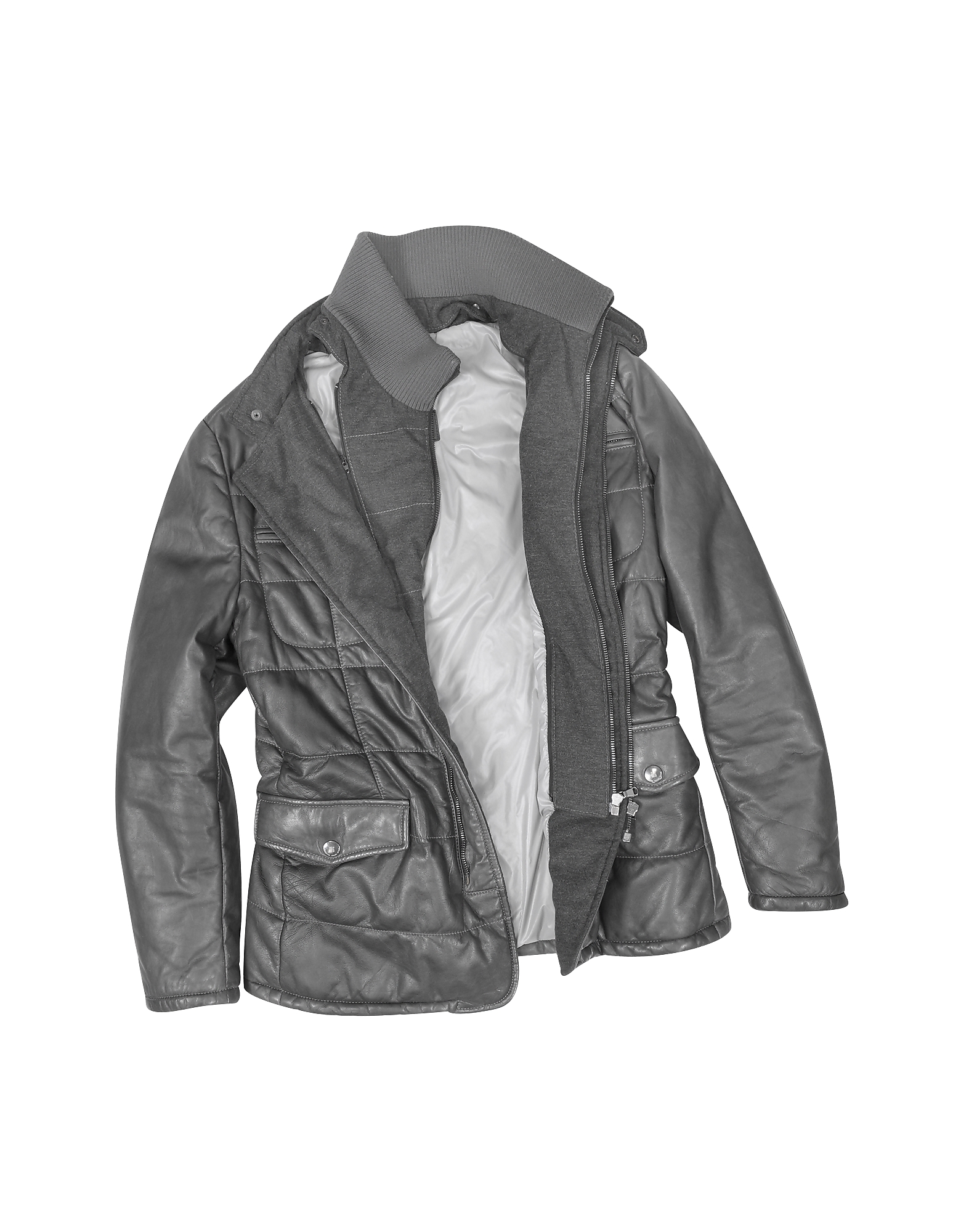 Dark Gray Zip Leather Jacket от Forzieri.com INT