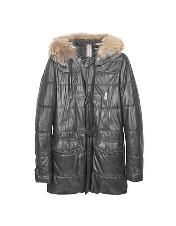 Forzieri - Black Leather Montgomery Coat