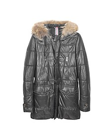 Black Leather Montgomery Coat - Forzieri