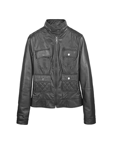 Forzieri Veste en cuir noir modèle Biker -