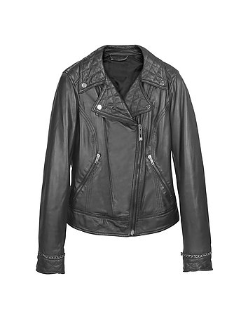Black Asymmetric Zip Leather Jacket