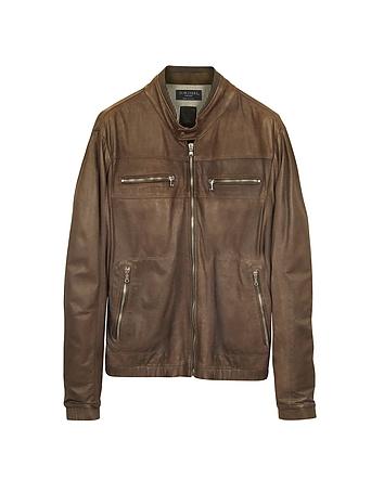 Genuine Leather Brown Motorcycle Jacket