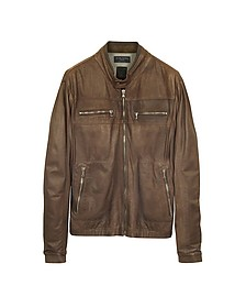 Genuine Leather Brown Motorcycle Jacket - Forzieri