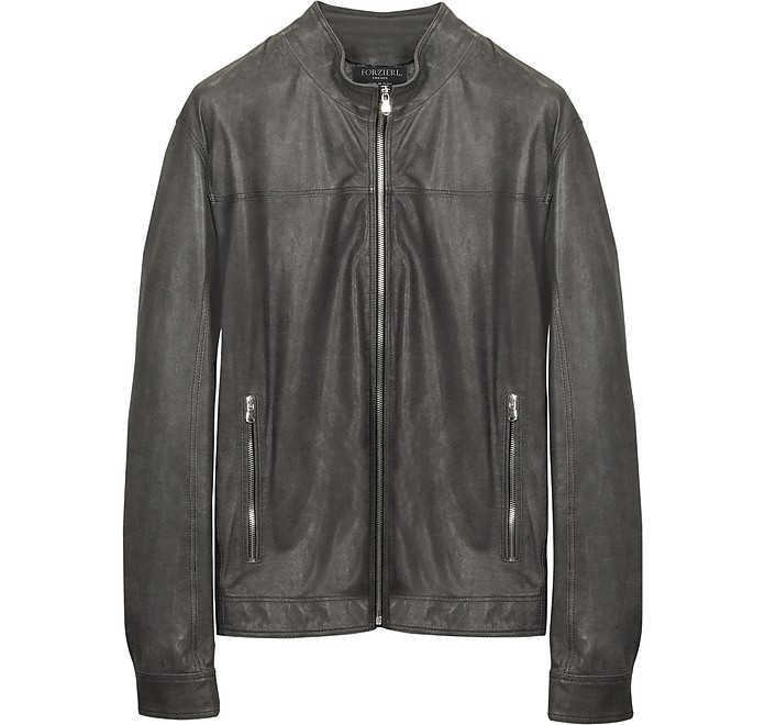 Gray Leather Motorcycle Jacket - Forzieri