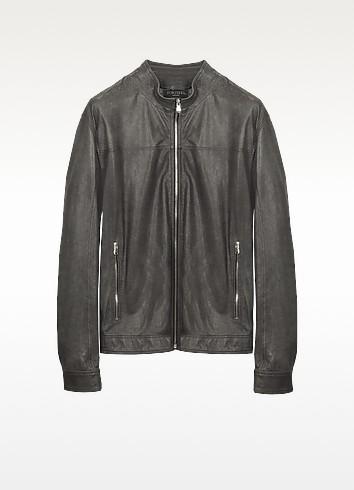 Gray Leather Motorcycle Jacket - Forzieri