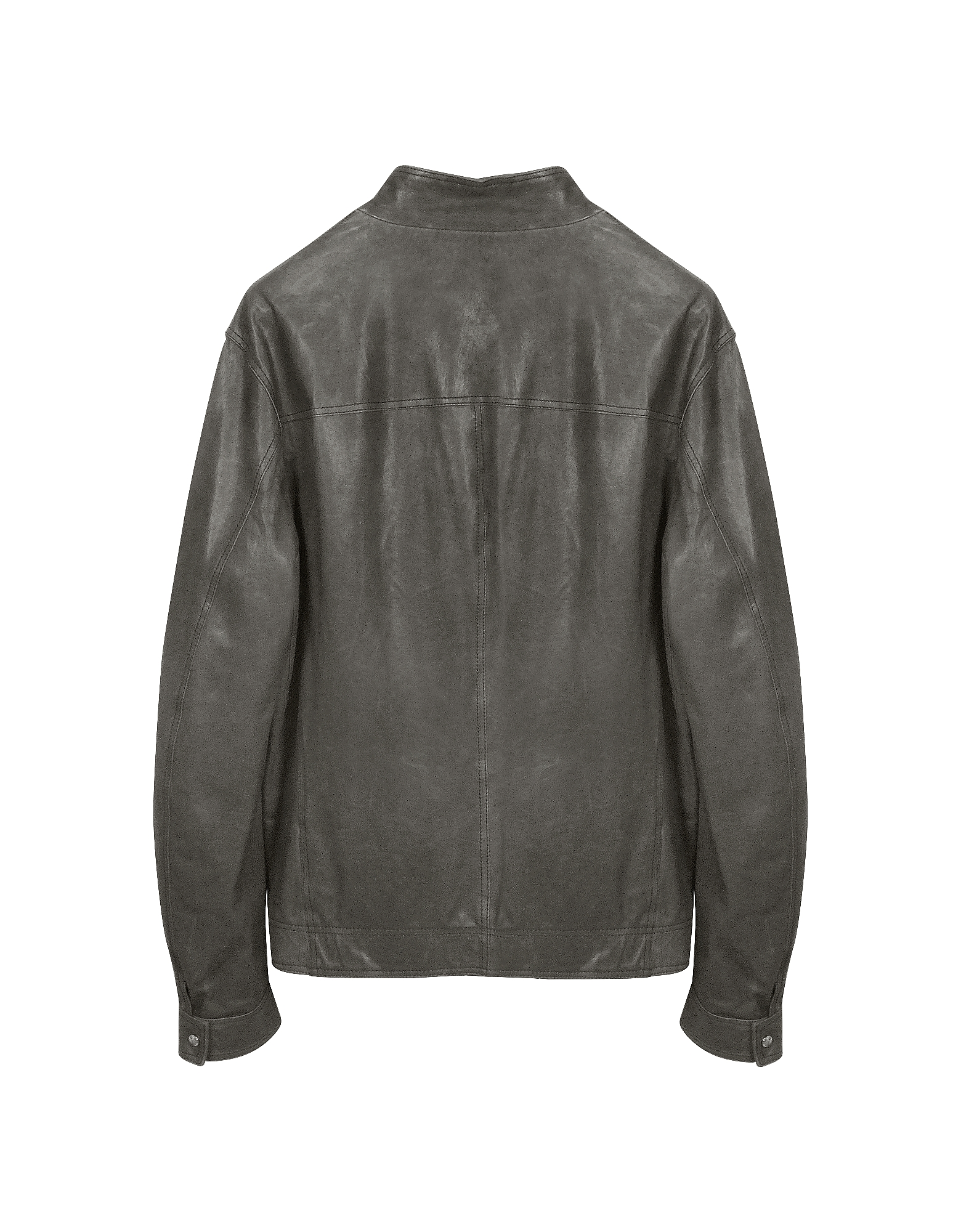 Gray Leather Motorcycle Jacket от Forzieri.com INT