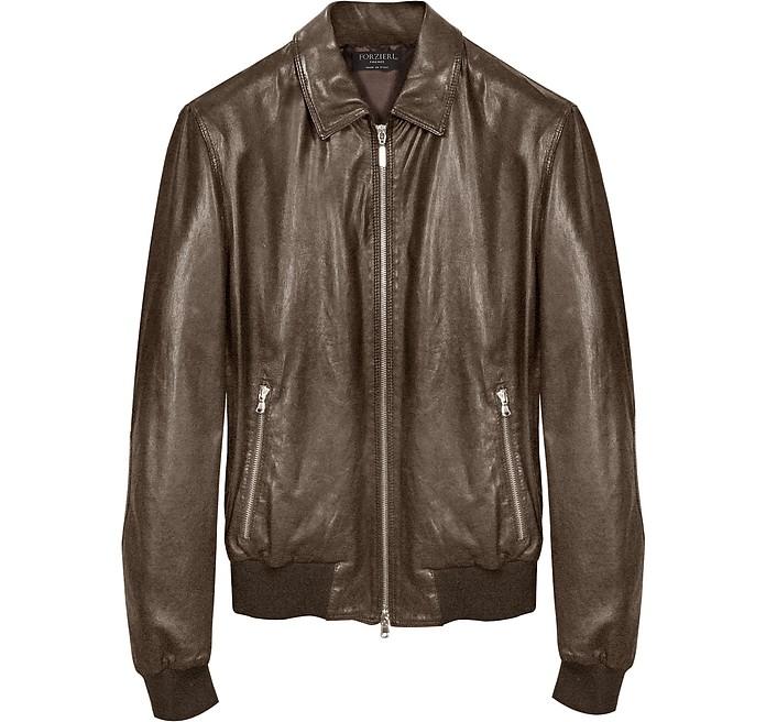 Dark Brown Leather Bomber Jacket - Forzieri