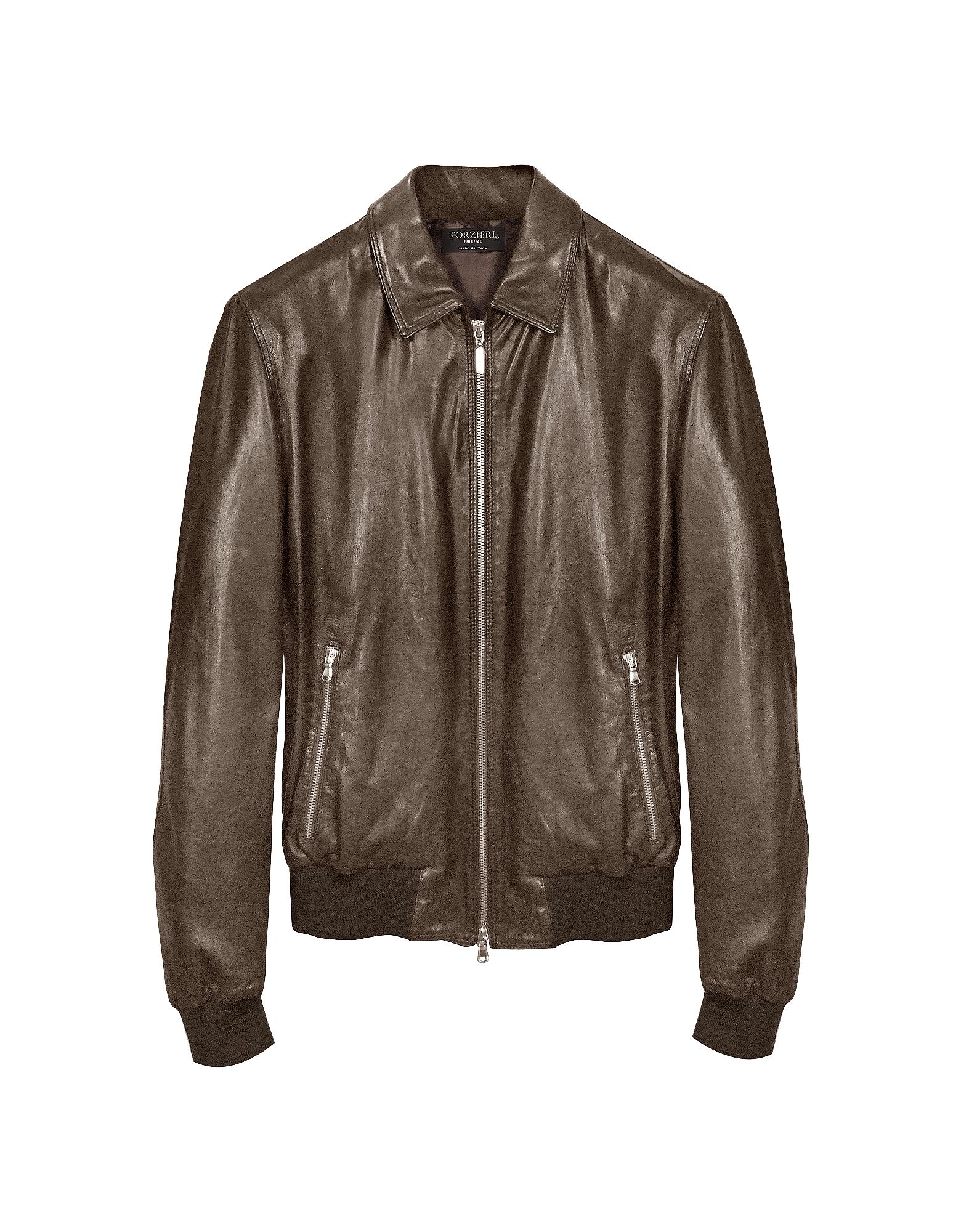 Темно-коричневая Кожаная Куртка Бомбер
