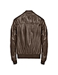 Dark Brown Leather Bomber Jacket - Forzieri