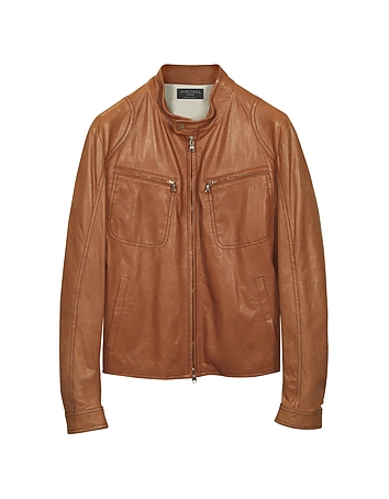 Tan Leather Motorcycle Jacket