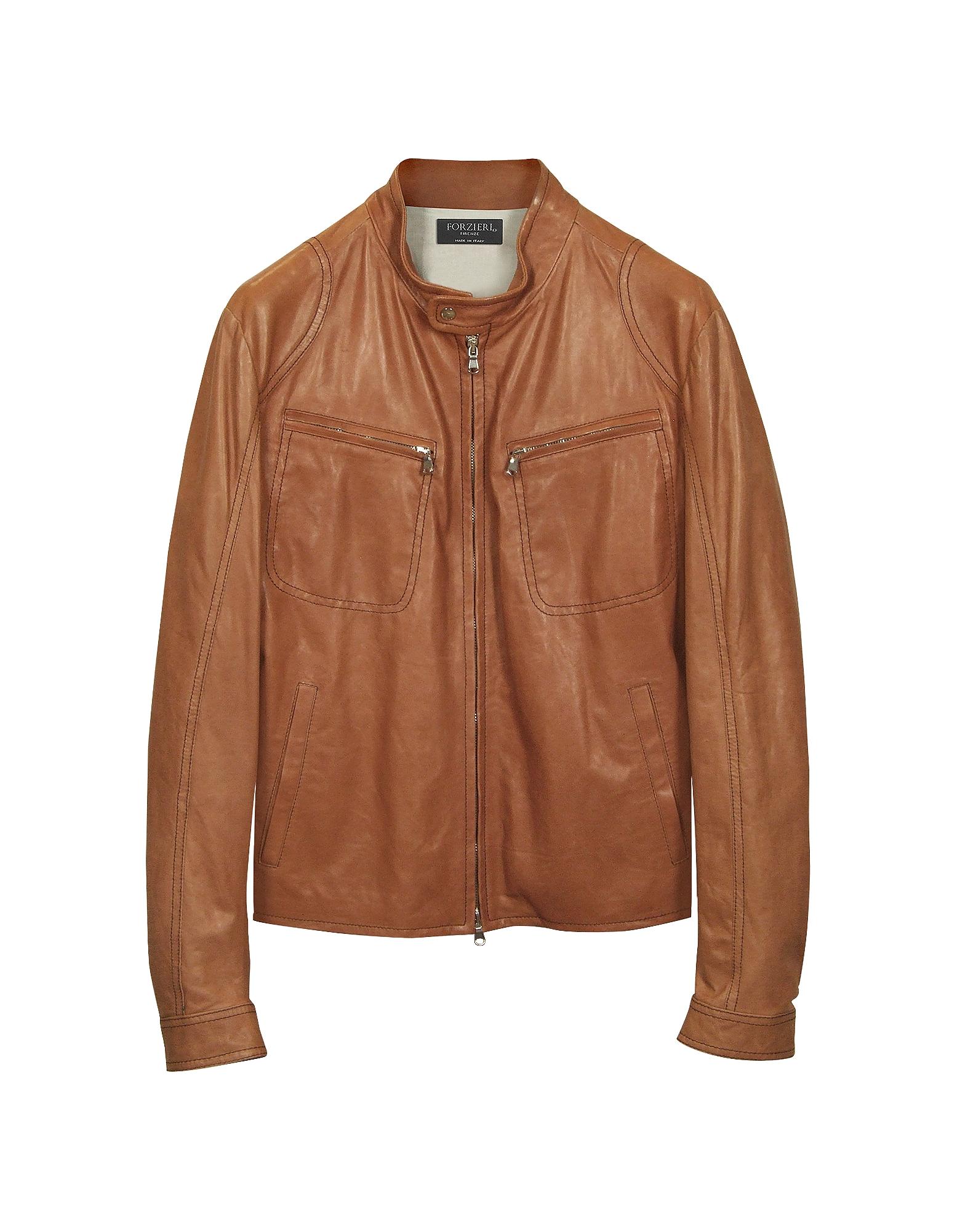 Куртка в Мото Стиле из Кожи Цвета Загара