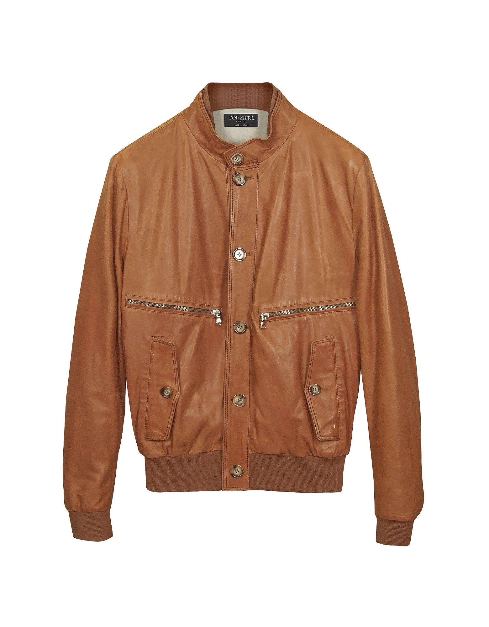 Куртка Бомбер из Кожи Цвета Загара