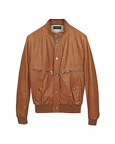 Tan Leather Bomber Jacket - Forzieri