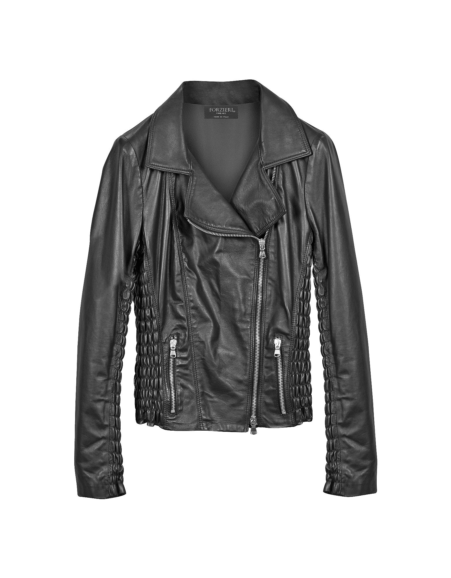 Черная Стеганая Кожаная Куртка в Мото Стиле