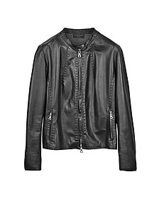 Black Leather Motorcycle Jacket - Forzieri