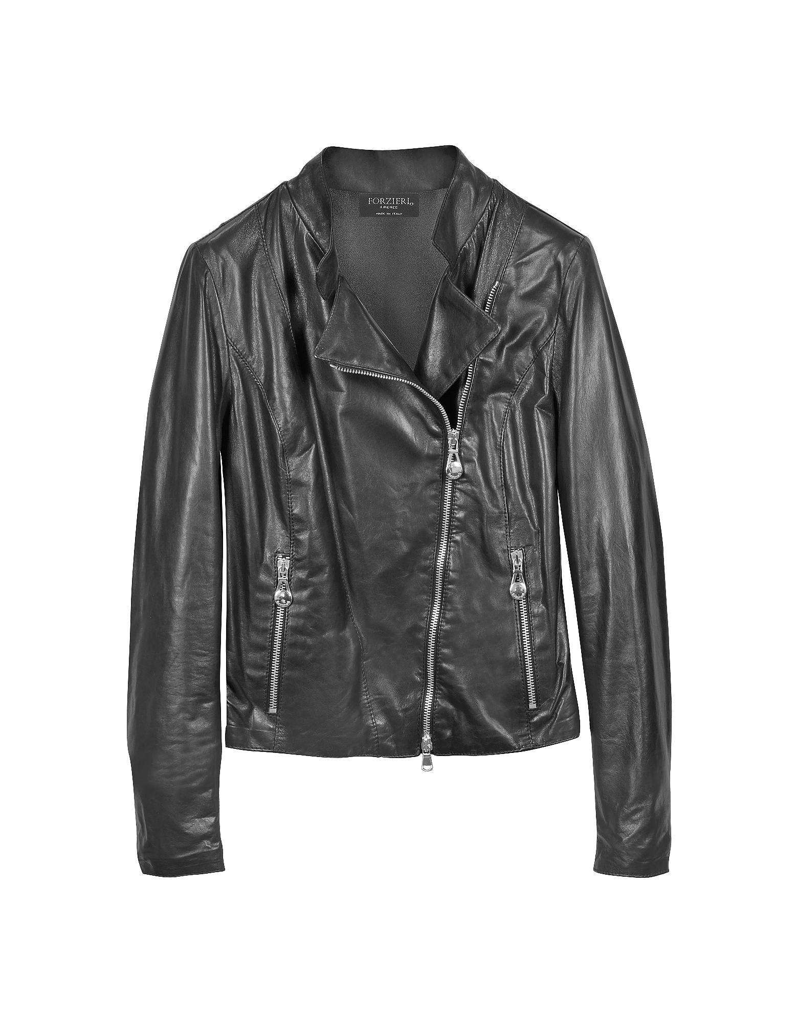 Черная Кожаная Куртка в Мото Стиле с Диагональной Застежкой-Молнией