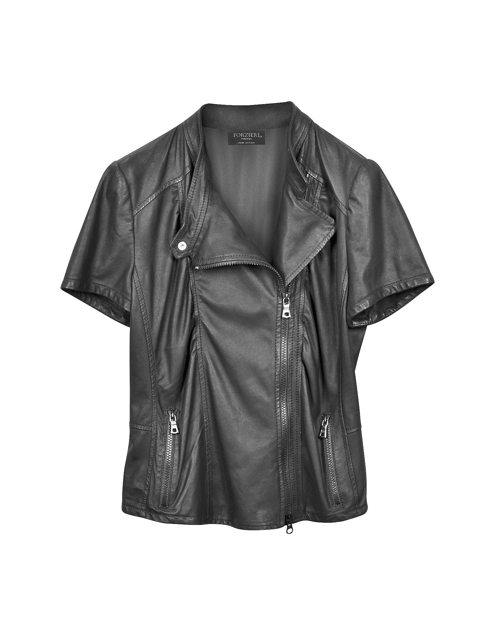 Куртка с Короткими Рукавами из Кожи Наппа