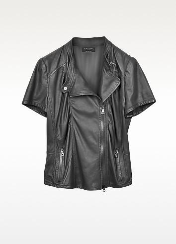 Short Sleeve Nappa Leather Jacket - Forzieri